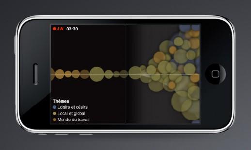 Imagen de un iPhone con la aplicación Walking the Edit