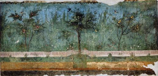 Fresco que muestra la imagen realista de un jardín